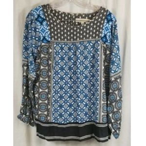 Ann Taylor LOFT Blue Black White Blouse Top M
